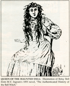 "An illustration of Betsy Bell from M.V Ingram's 1894 novel, ""The Authenticated History of the Bell Witch,"" found in a ""Sidelines"" article from October 1992."