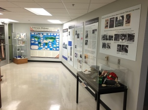 The Veterans History: Global Service, Individual Service exhibit (left wall) and Warriors with Words and Faith: Marion Skeen Coleman Peck and Donald A. Price exhibit (right wall)