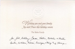 Biden family Holiday card text.