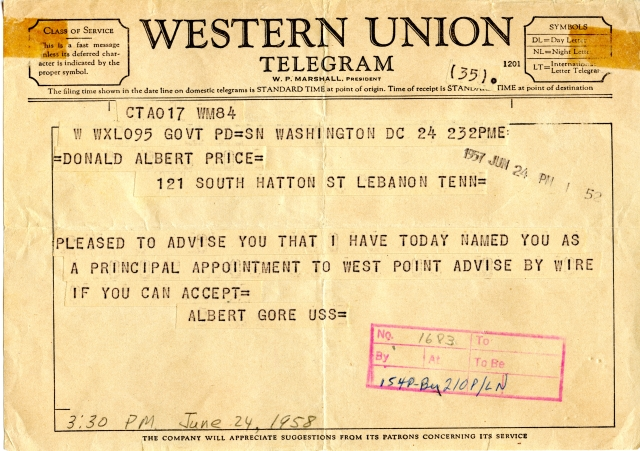 Telegram informing Donald A. Price of his appointment to West Point, dated June 24, 1958.
