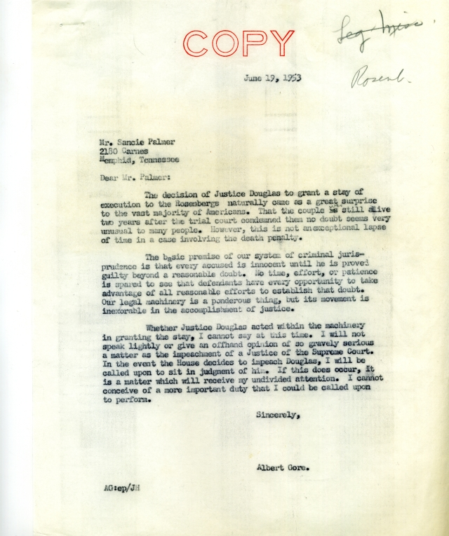 Gore to Palmer on Rosenberg case001