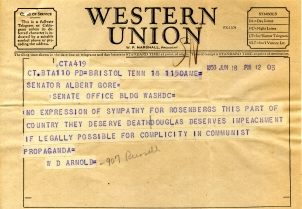 Telegram to Gore from WD Arnold on Rosenbergs003