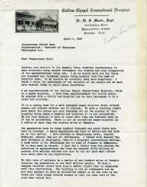 Letter to Gore from Dr. Martin, the superintendent of a black hospital in Memphis.