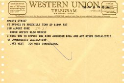 Telegram in opposition to King-Anderson bill.